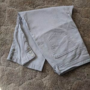 Light grey capri with button leg detail